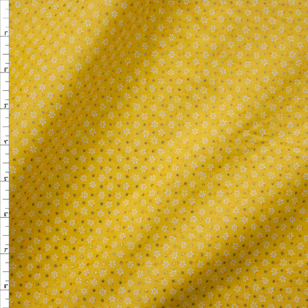 Metallic Gold Polka Dots on Yellow and White Mini Floral Quilter's Cotton Fabric By The Yard