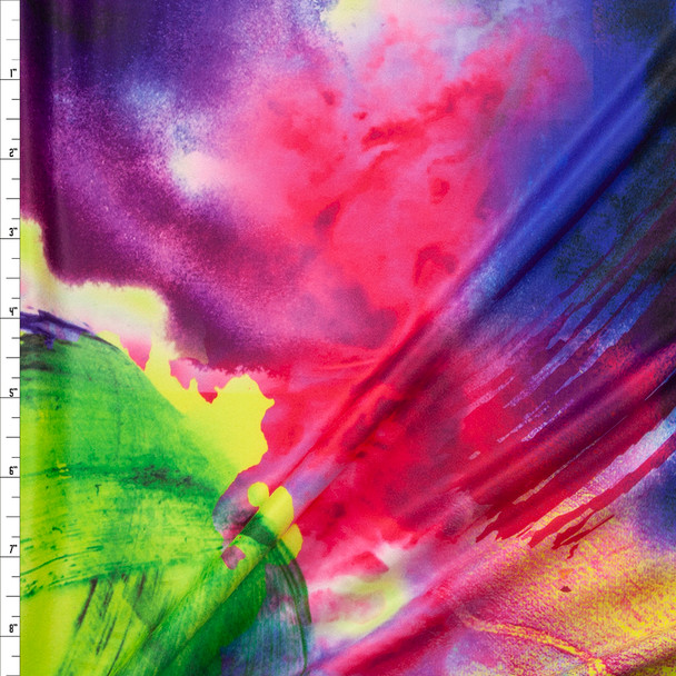 Neon Abstract Brushstrokes Double Brushed Poly/Spandex Fabric By The Yard