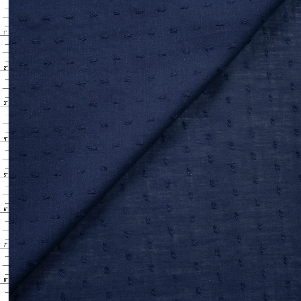 Navy Blue Swiss Dot Cotton Lawn Fabric By The Yard