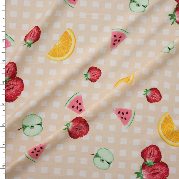 Fruit on Tan and White Gingham Fabric By The Yard