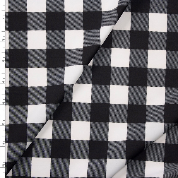 Black and White Buffalo Plaid Fabric By The Yard