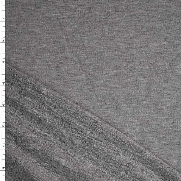 Heather Grey Lightweight Soft Stretch French Terry Fabric By The Yard