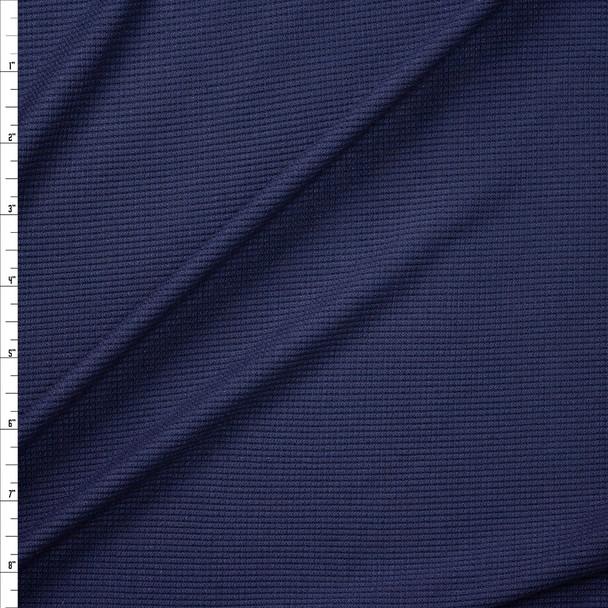 Navy Rayon Mini Waffle Knit Fabric By The Yard