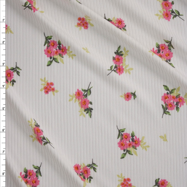 Bright Pink Floral on Warm White Brushed Stretch Rib Knit Fabric By The Yard