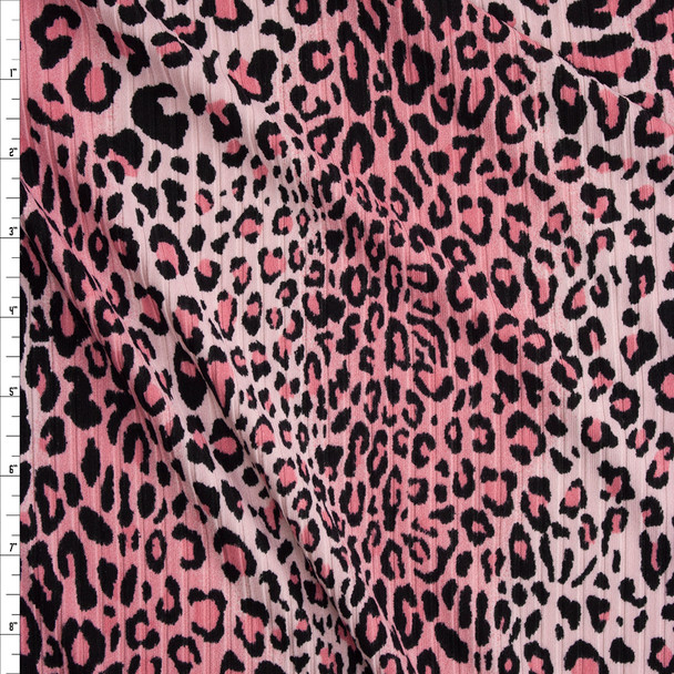 Pink Ombré Cheetah Brushed Stretch Rib Knit Fabric By The Yard