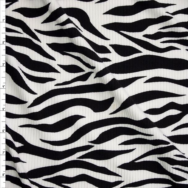 Zebra Print Brushed Stretch Rib Knit Fabric By The Yard