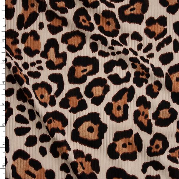 Leopard Print Brushed Stretch Rib Knit Fabric By The Yard