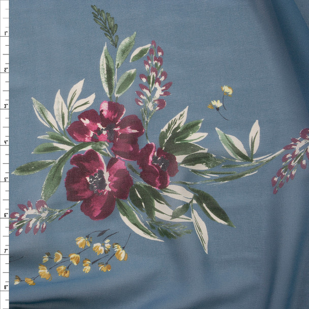 Plum Floral on Slate Blue Designer Chiffon Fabric By The Yard