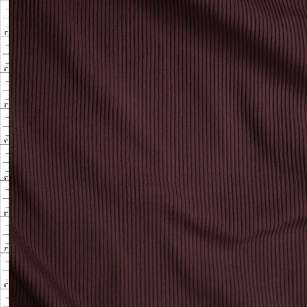 Brown Stretch Cotton Rib Knit Fabric By The Yard