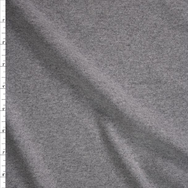 Heather Grey Midweight Cotton Rib Knit Fabric By The Yard