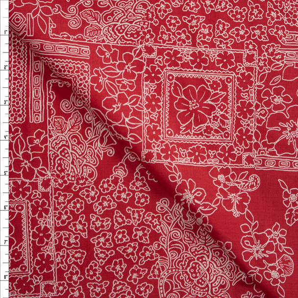 Island Tiles on Red Designer Cotton Shirting from 'Tori Richards' Fabric By The Yard