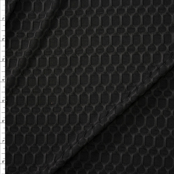 Black Honeycomb Textured Midweight Athletic Spandex Fabric By The Yard