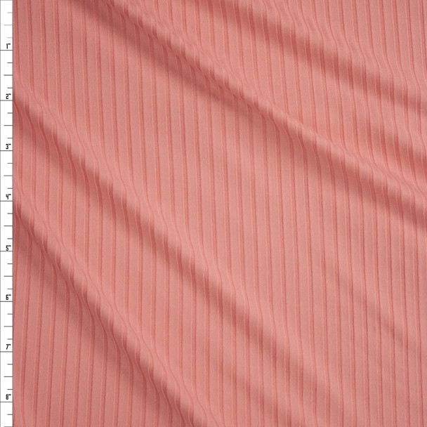 Pink Brushed Stretch Rib Knit Fabric By The Yard