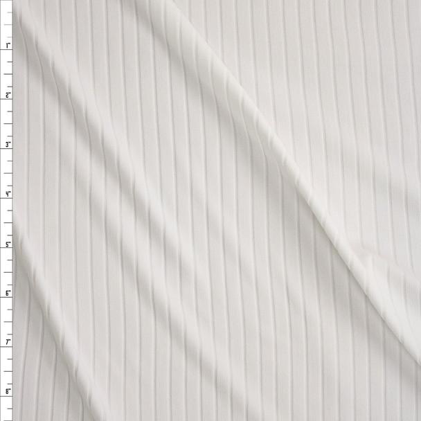 Warm White Brushed Stretch Rib Knit Fabric By The Yard