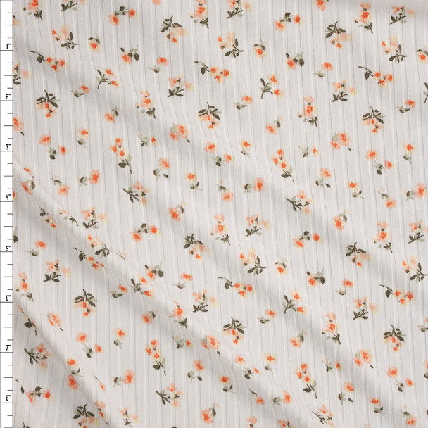 Peach and Orange Floral on Offwhite Brushed Stretch Rib Knit Fabric By The Yard