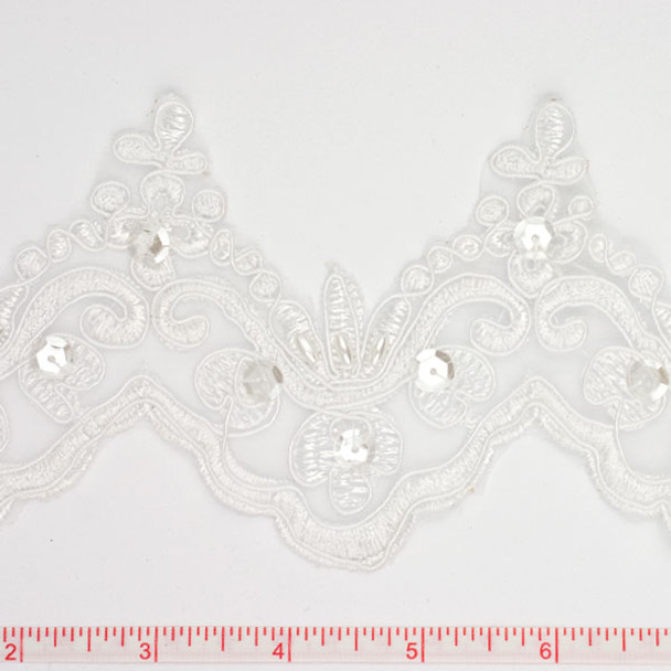 White Beaded and Sequined Lace Trim