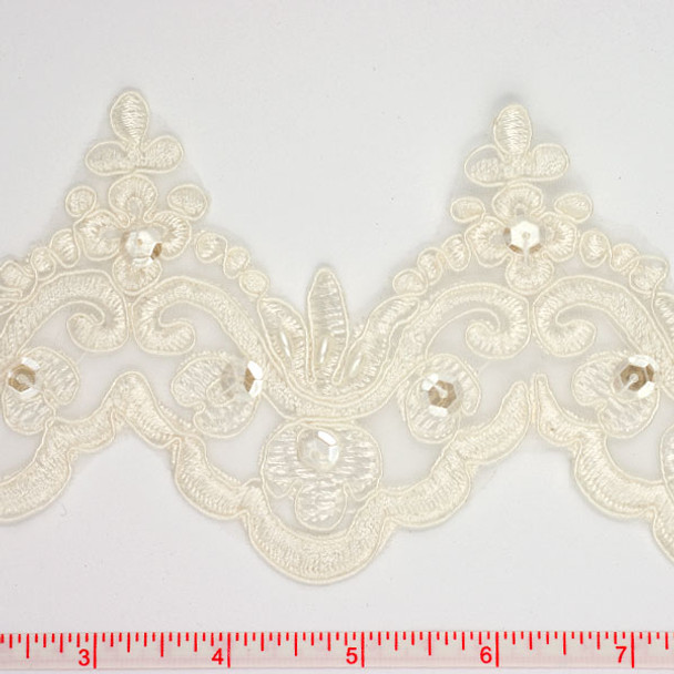 Ivory Beaded and Sequined Lace Trim
