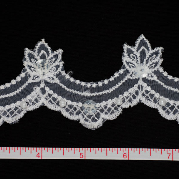 White Sequined Lace Trim