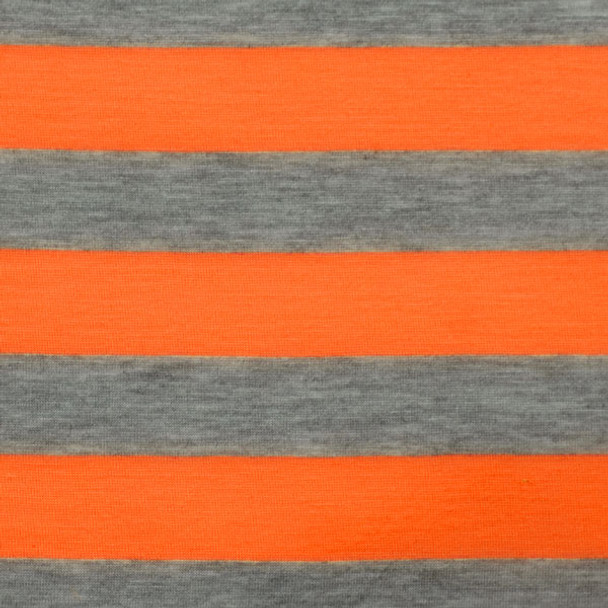 "Orange and Gray 1"" Striped Jersey Knit Fabric"