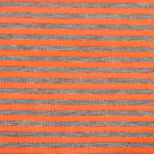 "Orange and Gray 1/4"" Striped Jersey Knit Fabric"