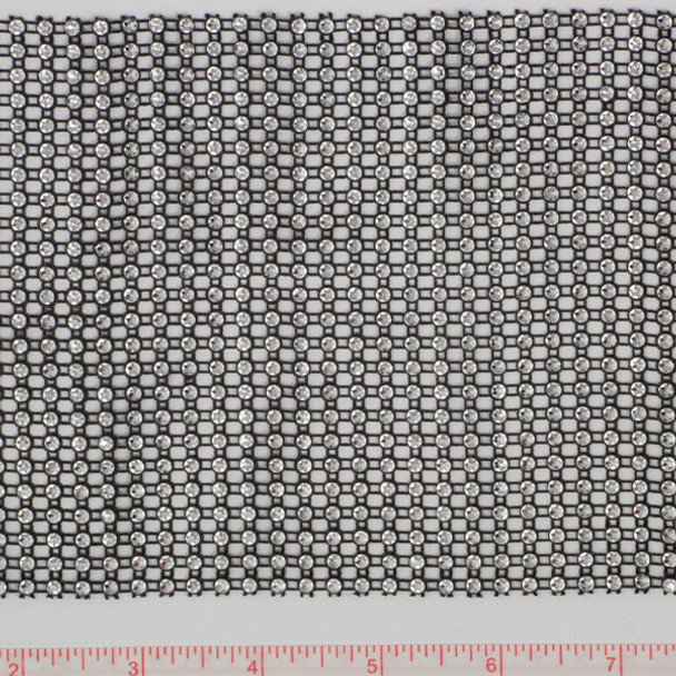 Silver-Black Rhinestone Look Trim