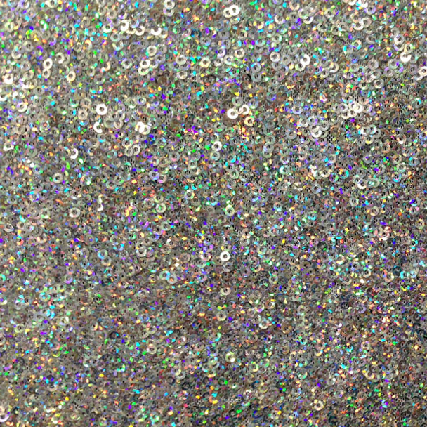 Sparkling Silver Holographic Micro Sequin Fabric