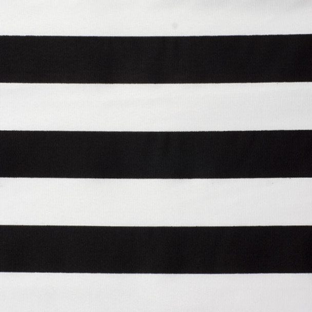 "White and Black 1"" Striped Poly/Cotton Print Fabric"