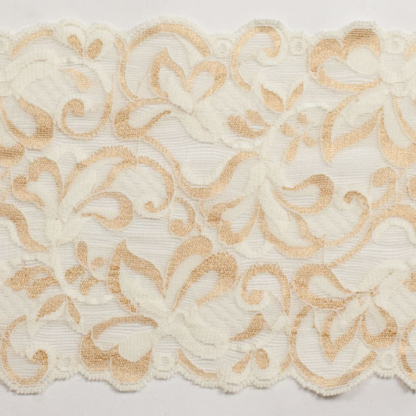 """Ivory and Gold 6"""" Stretch Lace Trim"""