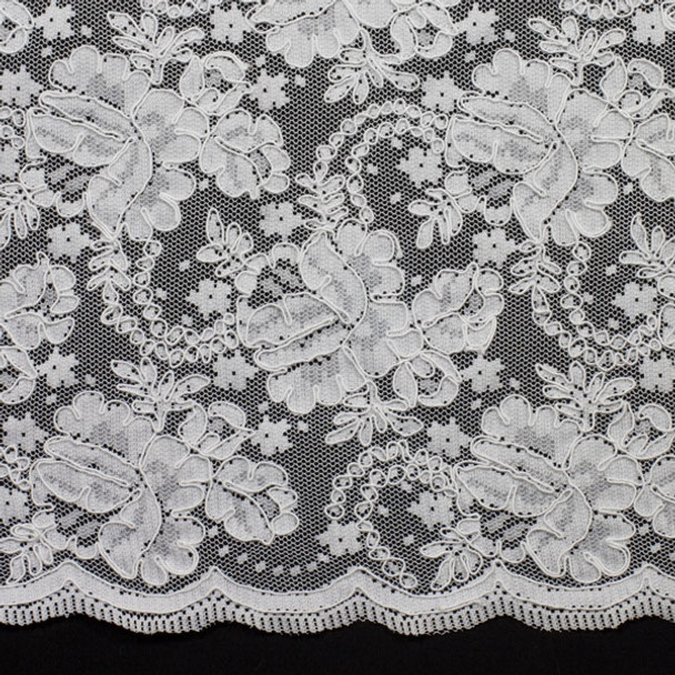 White Re-embroidered Bridal Lace Fabric