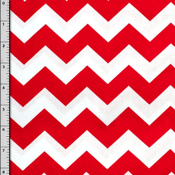 Red and White Chevron Cotton Print Fabric