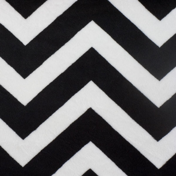 Black and White Chevron Print Cuddle Fur Fabric