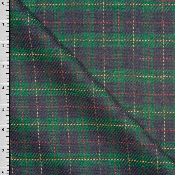 Navy and Green Tartan Plaid Brushed Wool Suiting Fabric