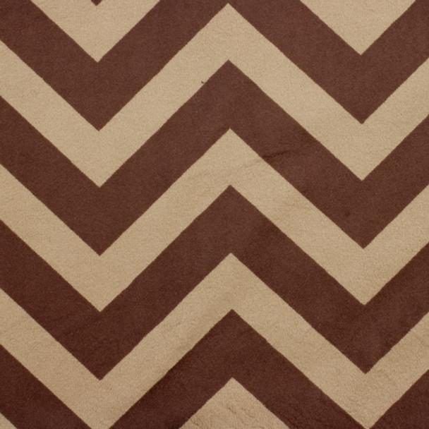 Brown and tan chevron minky fabric