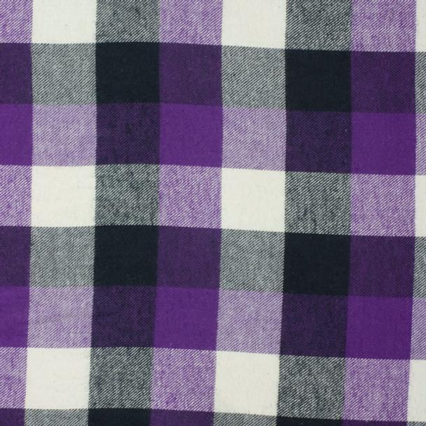 Black, White, and Purple Plaid Flannel Fabric