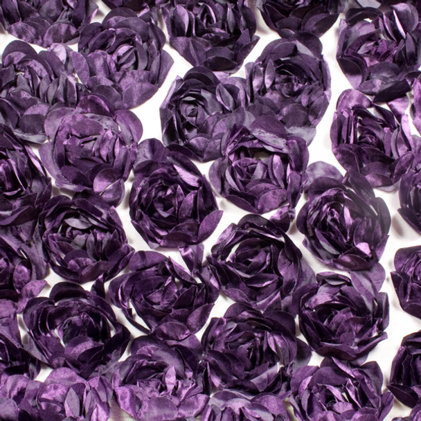Large Plum Rosette Fabric