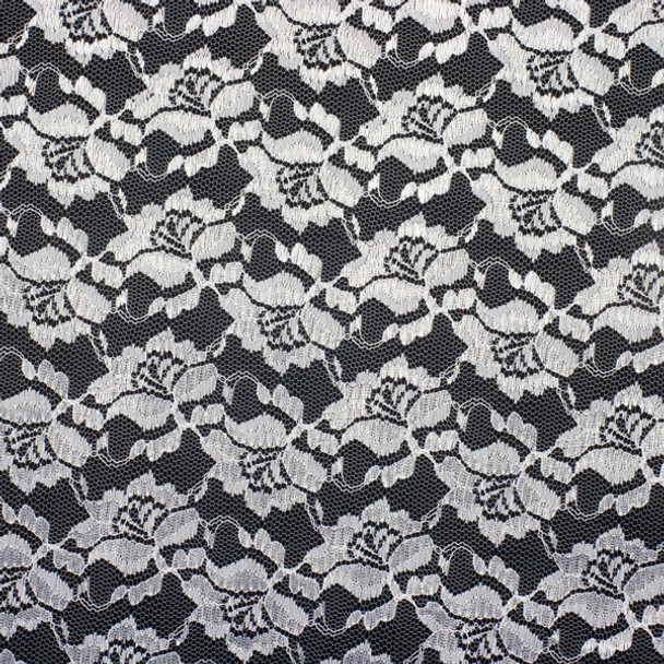 White Designer Floral Lace Fabric