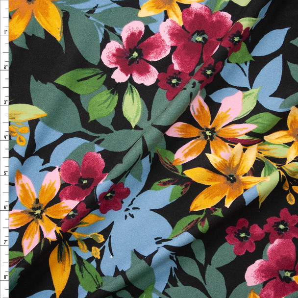 Yellow, Olive, Hot Pink, and Light Blue Layered Floral on Black Double Brushed Poly Spandex Fabric By The Yard