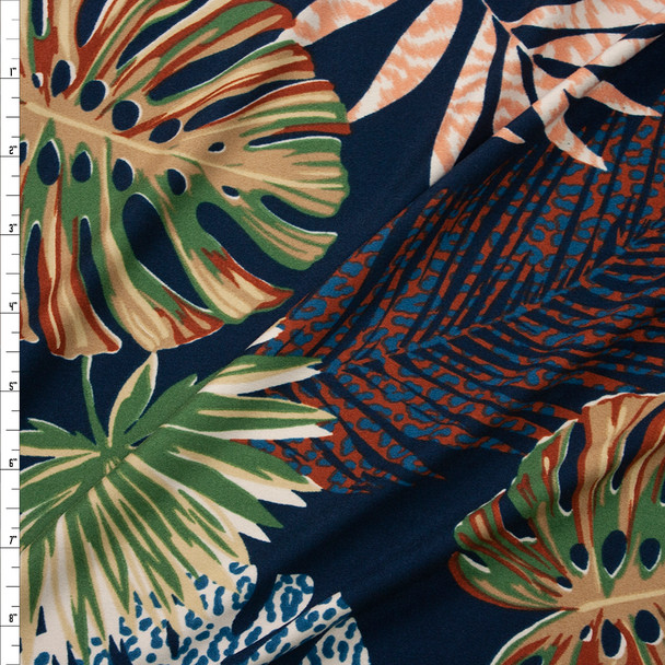 Fronds and Animal Prints on Navy Double Brushed Poly Spandex Fabric By The Yard