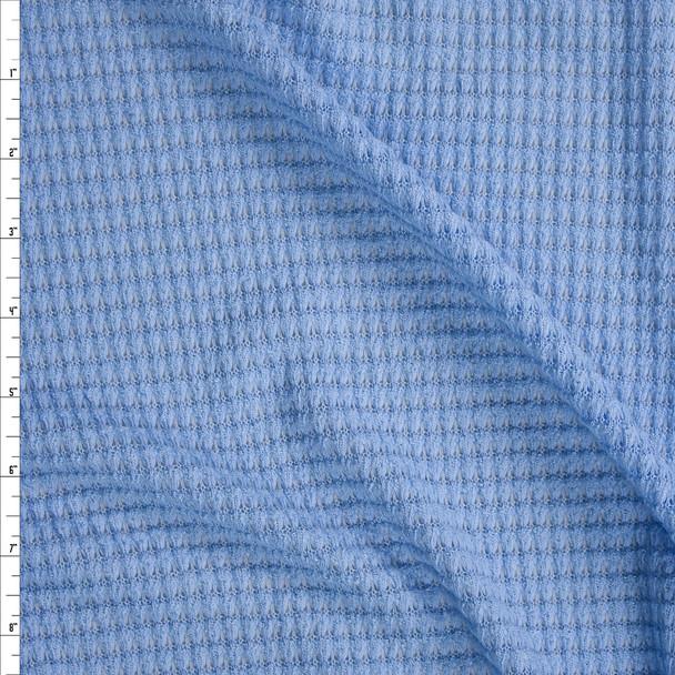 Light Blue Chunky Waffle Knit Fabric By The Yard