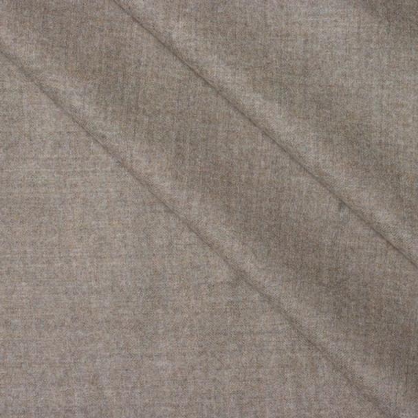 Tan Heather Brushed Wool Gabardine Fabric