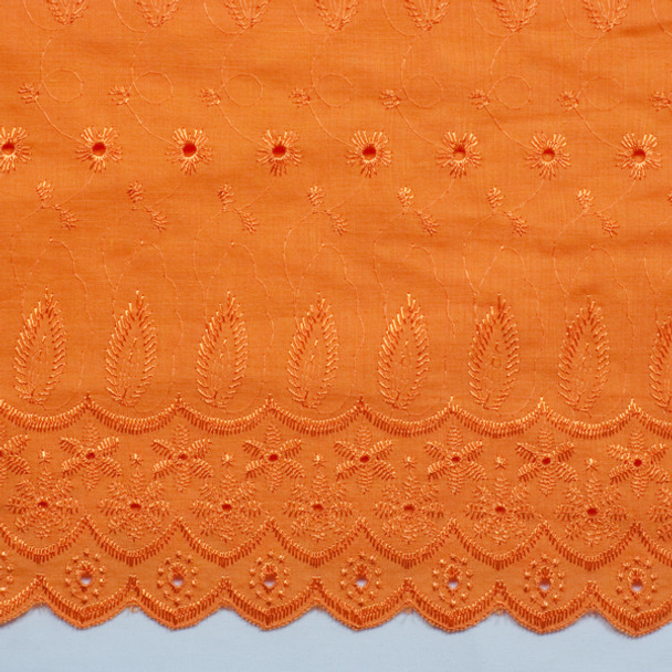 Orange Embroidered Cotton Eyelet
