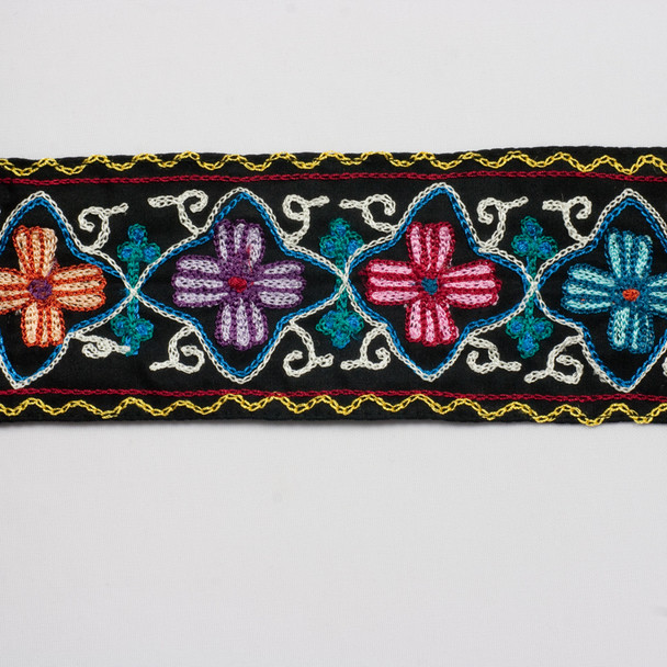 "Embroidered Floral on 2.875"" Black Cotton Ribbon"