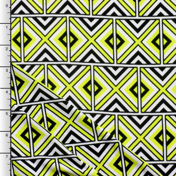 Neon Yellow Geometric Tribal ITY Knit Print