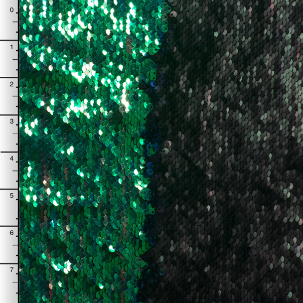 Matte Black and Iridescent Green 'Mermaid' Reversible Two Tone Sequin Fabric