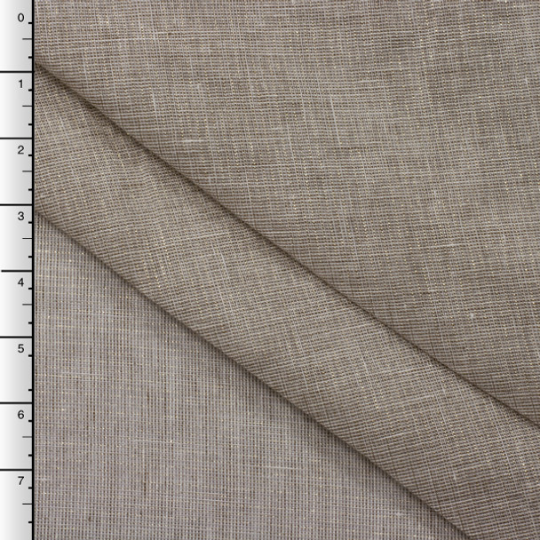 Semi Sheer Natural Linen Metallic Gold Plaid Lightweight Linen