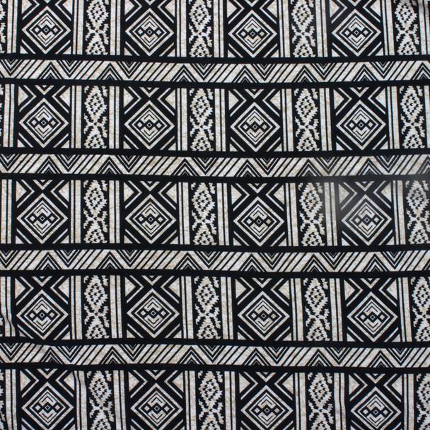 Cream/Black Geometric Tribal Stripe ITY Knit Print