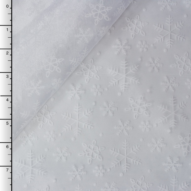 Flocked Snowflakes on White Organza