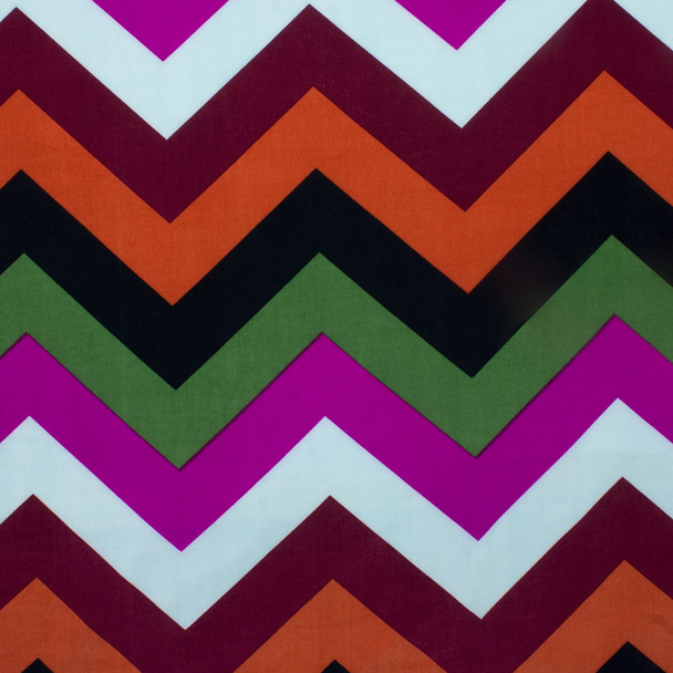 Black, Orange, Rust, Light Blue, Purple, and Olive Large Chevron ITY