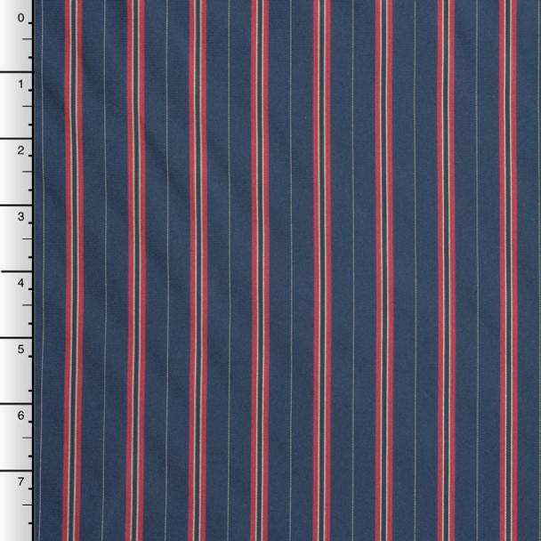 Red, White, and Navy Vertical Stripe Poly Lining