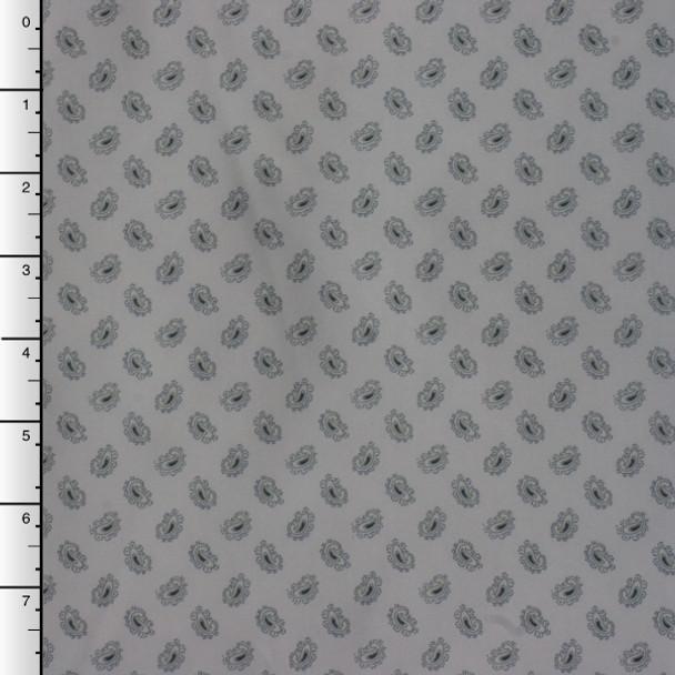 Grey Mini Paisley Print Poly Lining